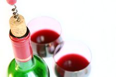 Free Corkscrew And Wine Bottle Stock Photography - 5883252