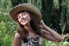 Free Coquettish Woman In The Strow Hat Stock Photo - 5883980