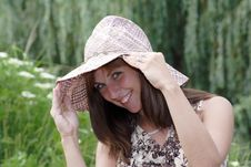 Coquettish Smiling Woman In Vintage Hat Stock Image