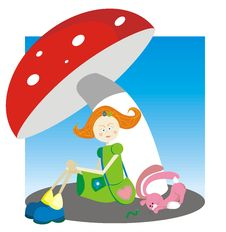 Free The Girl Under A Mushroom Stock Images - 5884404
