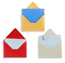 Open Envelopes Isolated, Path Provided. Stock Image