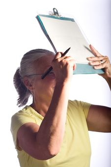 Free Woman With Clipboard Stock Photo - 5884920