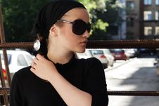 Free Beautiful Woman In Sunglasses And Kerchief Stock Images - 5885764