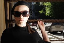 Free Beautiful Woman In Sunglasses And Kerchief Stock Image - 5885771