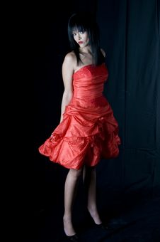Free Talya Red Dress Looking Right Royalty Free Stock Image - 5886546