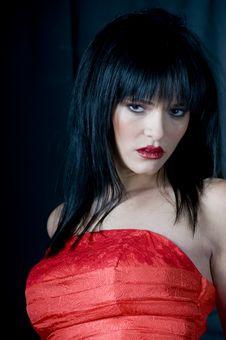 Free Talya Red Dress Head Shoulders Stock Photos - 5886663