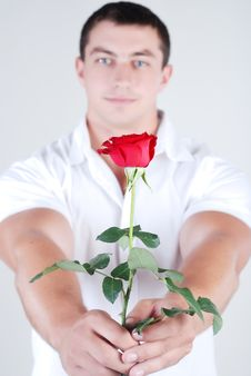 Athlete With Rose Royalty Free Stock Photography