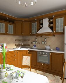 Free Interior Of Kitchen Royalty Free Stock Images - 5889319