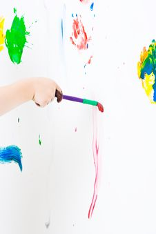 Free Childs Hand Painting Royalty Free Stock Photos - 5889998