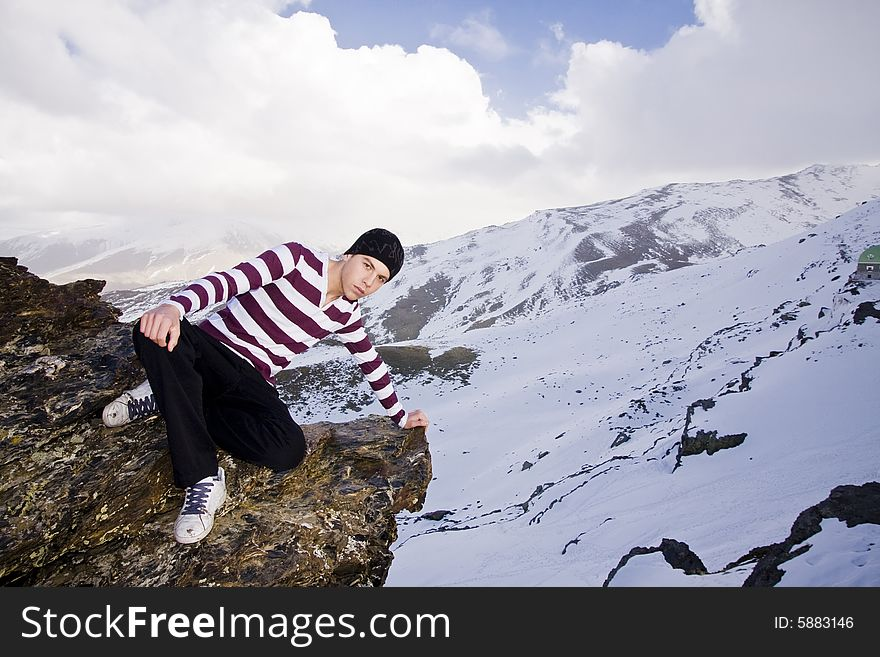 Young model posing at high altitude
