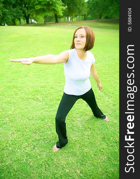Caucasian Woman Doing Yoga