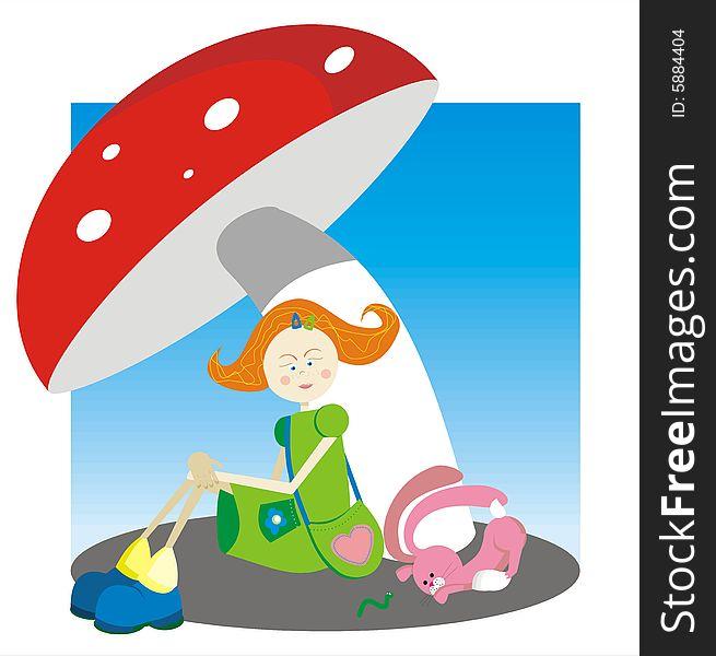 The girl under a mushroom