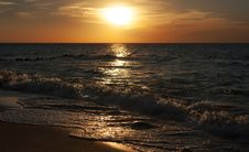 Sunset At The Sea On Autumn Royalty Free Stock Images