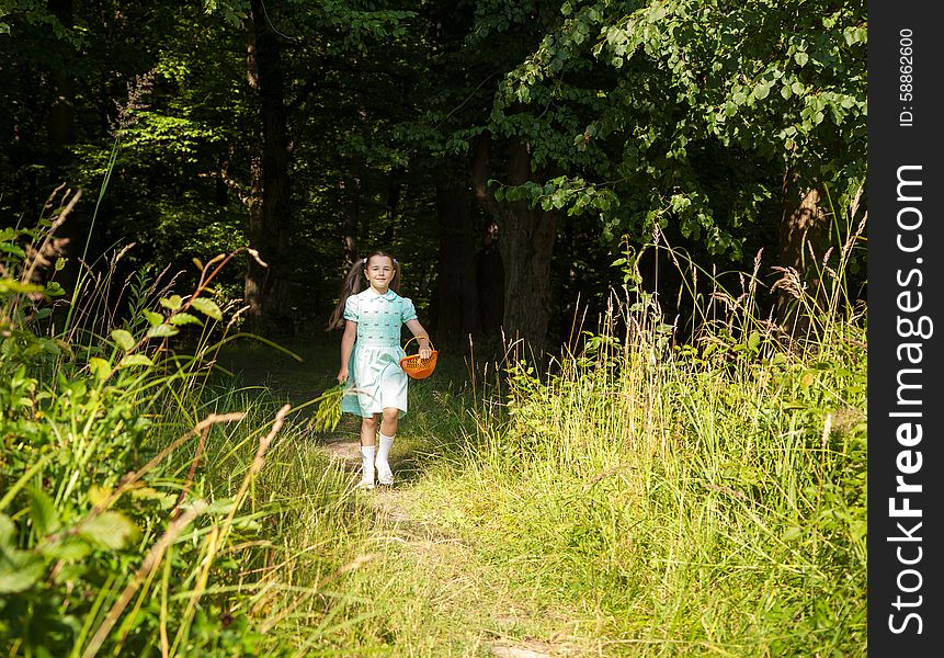 Little girl goes out of the forest