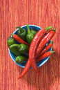 Free Red And Green Chili Peppers In A Bowl Stock Photo - 5893620
