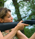 Free Girl With Gun In Wood Royalty Free Stock Photos - 5895268