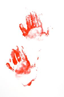 Free Hand Prints In Red On The Wall Royalty Free Stock Photos - 5890098