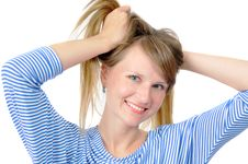 Attractive Blue-eyed Girl With Two Hair Tails Stock Photo
