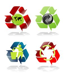 Free Four Various Recycle Icons Royalty Free Stock Photo - 5891585