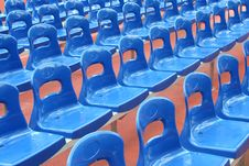 Rows Of Blue Stadium Seats Stock Image