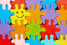 Colorful Puzzles Painted On Wall Stock Photography