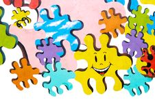 Colorful Puzzles Painted On Wall Stock Photos
