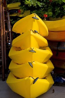 Free Five Yellow Kayaks Stock Photos - 5892803