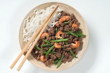 Minced Meat With Prawns, String Beans And Noodles Royalty Free Stock Image
