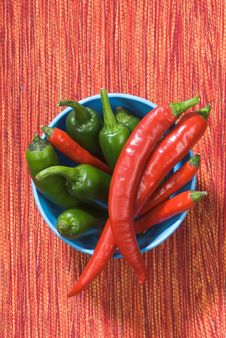 Red And Green Chili Peppers In A Bowl Stock Photo