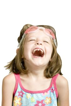 Free Little Girl With Goggles Laughing Stock Images - 5894354