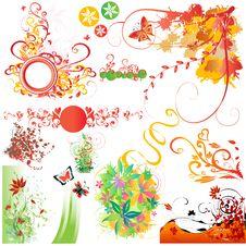 Floral Elements Set Stock Photos