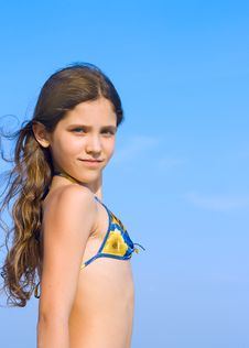 Free Beauty Girl On Sky Background Royalty Free Stock Image - 5897206