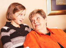 Free Grandmother And Granddaughter Look Each Other Royalty Free Stock Photography - 5897367