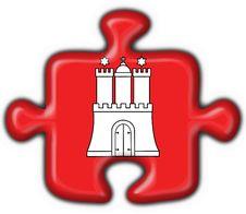Hamburg Button Flag Puzzle Shape Stock Photos