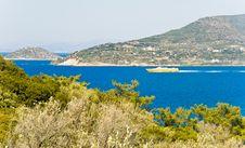 Ship At Mediterranean Island Royalty Free Stock Photo