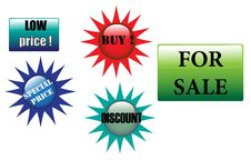 Various Colored Sale Stickers Royalty Free Stock Photography