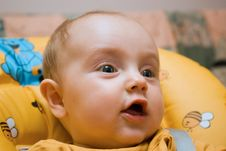 Free Little Baby Girl Surprised And Smiling Stock Photography - 5898932
