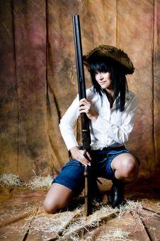 Free Farmer Girl Kneeling Royalty Free Stock Images - 5899079