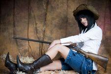 Free Farmer Girl With Shotgun Royalty Free Stock Images - 5899139