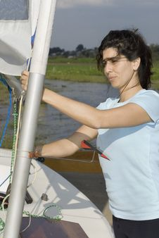 Free Woman Setting Sail Rigging - Veritical Stock Photography - 5899452