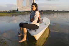Free Woman On Sailboat Smiling At Camera - Horizontal Royalty Free Stock Images - 5899499