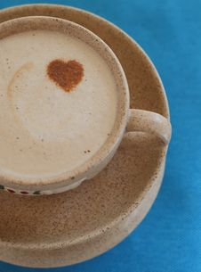 A Cup Of Coffee With Foam And Heart Stock Images