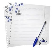 Free Notepaper With A Pen And Paper Clips Royalty Free Stock Photography - 58927847