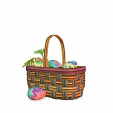 Free Colorful Basket Of Easter Eggs Royalty Free Stock Photos - 591088