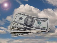 Free Dollar Flying In The Sky Stock Images - 592394