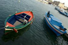 Two Coloured Fishing Boats Royalty Free Stock Image