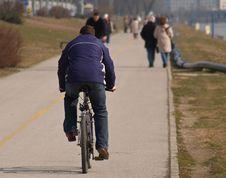 Free Bicyclist On Promenade Stock Image - 593151