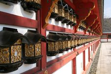 Free Decorated Wall In A Japanese Temple Stock Photography - 593522
