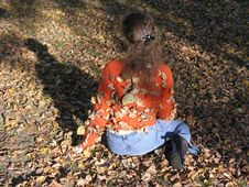 Free Girl With Autumn Leaves Royalty Free Stock Image - 595376