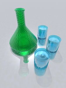 Bottle And Glasses Stock Images